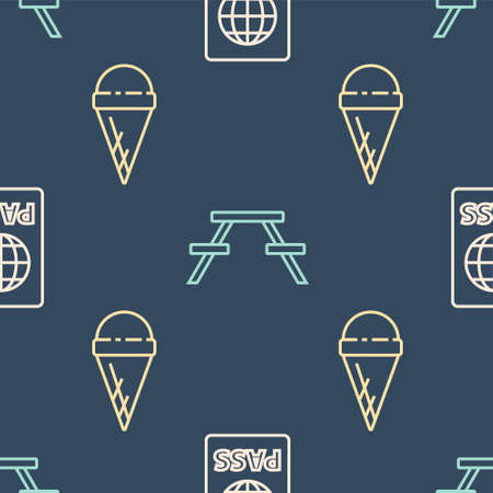 Set line Passport, Ice cream in waffle cone and Picnic table with benches on seamless pattern. Vector.