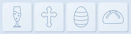 Set line Wine glass, Easter egg, Christian cross and Easter cake. White square button. Vector.