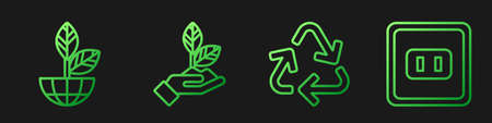 Set line Recycle symbol, Earth globe and plant, Plant in hand and Electrical outlet. Gradient color icons. Vector.