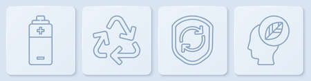 Set line Battery, Recycle symbol inside shield, Recycle symbol and Human head with leaf inside. White square button. Vector. 向量圖像