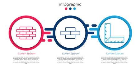 Set line Bricks, Bricks and Corner ruler. Business infographic template. Vector.