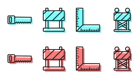 Set line Corner ruler, Hand saw, Road barrier and Road barrier icon. Vector.