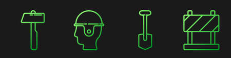 Set line Shovel, Hammer, Worker safety helmet and Road barrier. Gradient color icons. Vector.