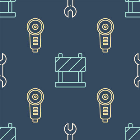 Set line Wrench spanner, Angle grinder and Road barrier on seamless pattern. Vector.