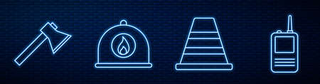 Set line Traffic cone, Firefighter axe, Firefighter helmet and Walkie talkie. Glowing neon icon on brick wall. Vector. 向量圖像