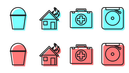 Set line First aid kit, Fire bucket, Fire in burning house and Ringing alarm bell icon. Vector.