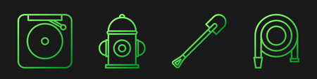 Set line Fire shovel, Ringing alarm bell, Fire hydrant and Fire hose reel. Gradient color icons. Vector.