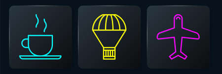 Set line Coffee cup, Plane and Box flying on parachute. Black square button. Vector.