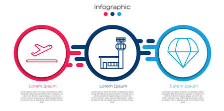 Set line Plane takeoff, Airport control tower and Parachute. Business infographic template. Vector.