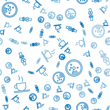 Set line Coffee cup, Radar with targets on monitor and Safety belt on seamless pattern. Vector.