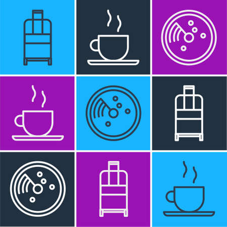 Set line Suitcase, Radar with targets on monitor and Coffee cup icon. Vector. Illusztráció