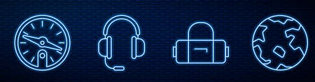 Set line Suitcase, Compass, Headphones with microphone and Worldwide. Glowing neon icon on brick wall. Vector.