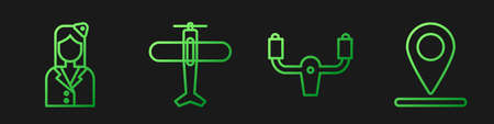 Set line Aircraft steering helm, Stewardess, Plane and Location. Gradient color icons. Vector.