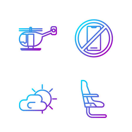 Set line Airplane seat, Sun and cloud weather, Helicopter and No cell phone. Gradient color icons. Vector. 向量圖像