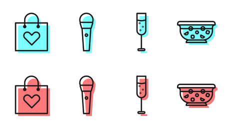 Set line Glass of champagne, Shopping bag with heart, Karaoke microphone and Mixed punch in bowl icon. Vector.