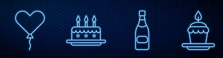 Set line Champagne bottle, Balloon in form of heart, Cake with burning candles and Cake with burning candles. Glowing neon icon on brick wall. Vector.