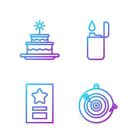 Set line Classic dart board and arrow, Greeting card, Cake with burning candles and Lighter. Gradient color icons. Vector. 向量圖像