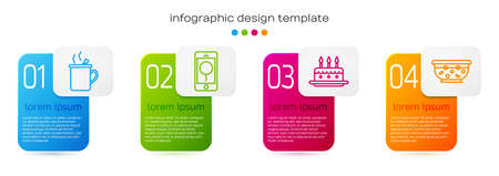 Set line Mulled wine, Mobile with birthday message, Cake with burning candles and Mixed punch in bowl. Business infographic template. Vector.