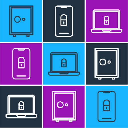 Set line Safe, Laptop and lock and Mobile with closed padlock icon. Vector.