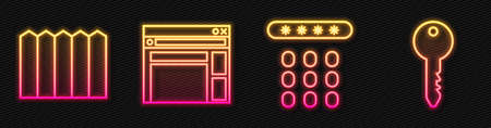 Set line Password protection, Garden fence wooden, Website template and Key. Glowing neon icon. Vector. 向量圖像