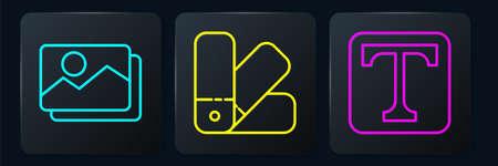 Set line Picture landscape, Text and Color palette guide. Black square button. Vector.
