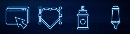 Set line Paint spray can, Web design and development, Heart with Bezier curve and Marker pen. Glowing neon icon on brick wall. Vector.