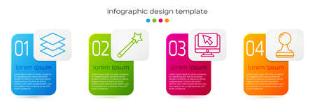 Set line Layers, Magic wand, Computer monitor and cursor and Stamp. Business infographic template. Vector. 向量圖像