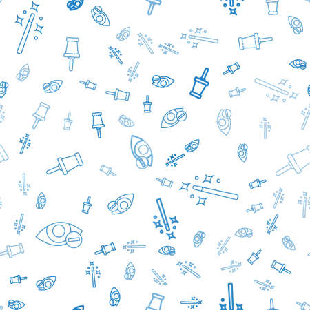 Set line Red eye effect, Magic wand and Push pin on seamless pattern. Vector.
