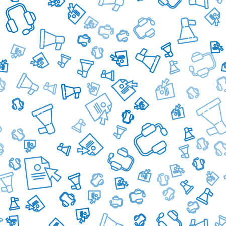 Set line Document and cursor, Headphones and Megaphone on seamless pattern. Vector.