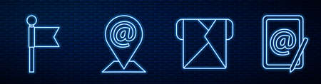 Set line Envelope, Location marker, Location and mail and e-mail and Mail and e-mail. Glowing neon icon on brick wall. Vector. 向量圖像
