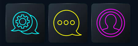Set line Speech bubble chat, Create account screen and Speech bubble chat. Black square button. Vector.