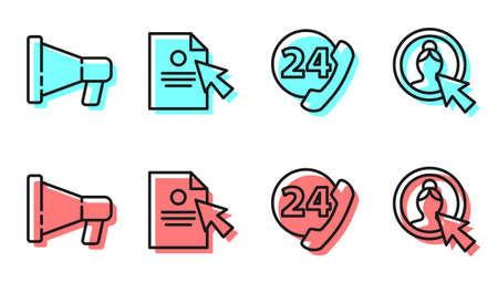 Set line Telephone 24 hours support, Megaphone, Document and cursor and Create account screen icon. Vector.