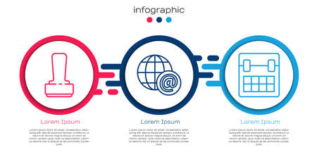Set line Stamp, Earth globe with mail and Calendar. Business infographic template. Vector.