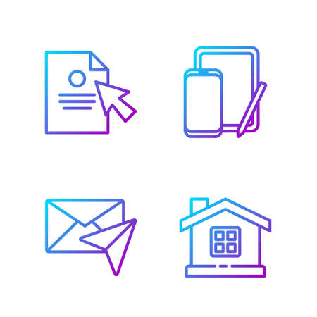 Set line House, Envelope, Document and cursor and Phone and graphic tablet. Gradient color icons. Vector.