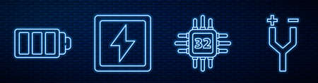 Set line Processor with microcircuits CPU, Battery charge level indicator, Lightning bolt and Electric cable. Glowing neon icon on brick wall. Vector. 向量圖像