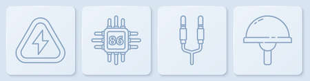 Set line High voltage, Audio jack, Processor with microcircuits CPU and Light emitting diode. White square button. Vector. 向量圖像
