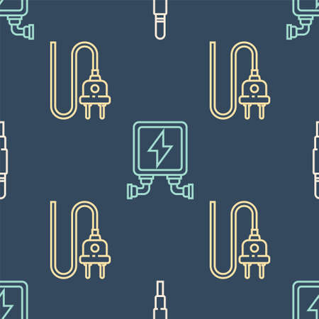 Set line Audio jack, Electric plug and Electric transformer on seamless pattern. Vector. 向量圖像