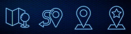 Set line Location, Folded map with push pin, Route location and Map pointer with star. Glowing neon icon on brick wall. Vector. 向量圖像