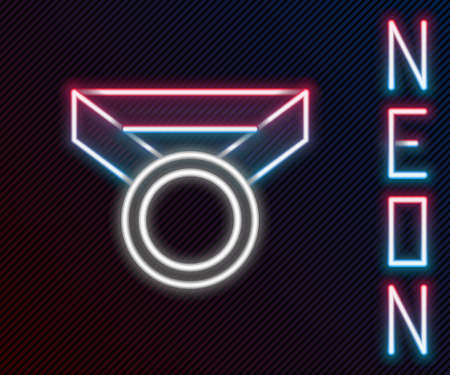 Glowing neon line Medal icon isolated on black background. Winner symbol. Colorful outline concept. Vector Illustration.