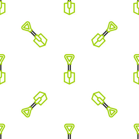 Line Shovel icon isolated seamless pattern on white background. Gardening tool. Tool for horticulture, agriculture, farming.  Vector Illustration.