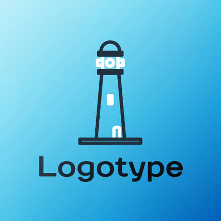 Line Lighthouse icon isolated on blue background. Colorful outline concept. Vector Illustration.
