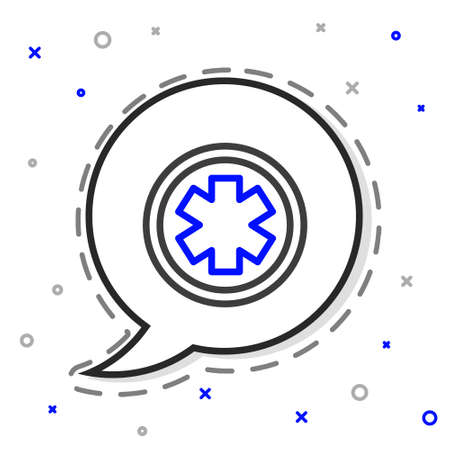 Line Medical symbol of the Emergency - Star of Life icon isolated on white background. Colorful outline concept. Vector Illustration.