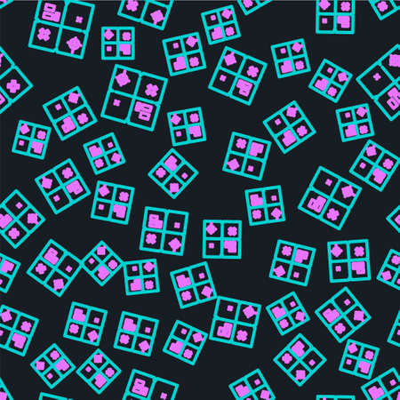 Line Treasure map icon isolated seamless pattern on black background.  Vector Illustration.