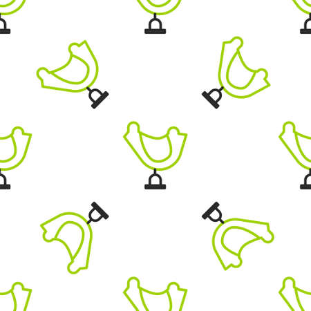 Line Wild west saddle icon isolated seamless pattern on white background.  Vector Illustration.