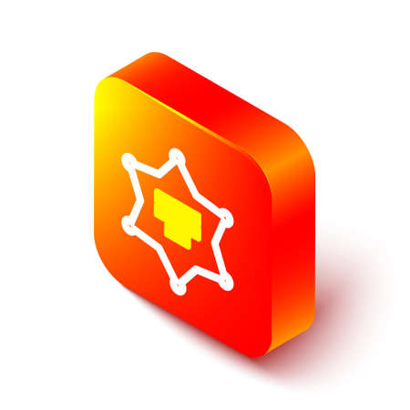 Isometric line Hexagram sheriff icon isolated on white background. Police badge icon. Orange square button. Vector Illustration. Çizim