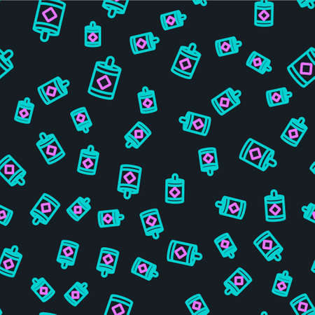 Line Firework icon isolated seamless pattern on black background. Concept of fun party. Explosive pyrotechnic symbol. Vector Illustration.