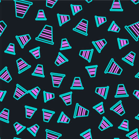 Line Traffic cone icon isolated seamless pattern on black background.  Vector Illustration.