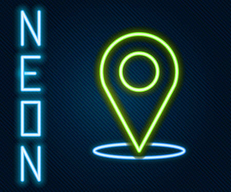 Glowing neon line Map pin icon isolated on black background. Navigation, pointer, location, map, gps, direction, place, compass, search concept. Colorful outline concept. Vector Illustration.