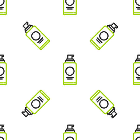 Line Spray can for hairspray, deodorant, antiperspirant icon isolated seamless pattern on white background. Vector Illustration.
