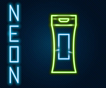 Glowing neon line Bottle of shampoo icon isolated on black background. Colorful outline concept. Vector Illustration.